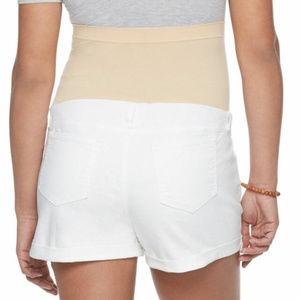 1fe46a462e324 A:Glow Maternity Shorts - a:glow Maternity Belly Panel White Shorts Sz 10